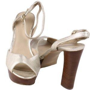 Nine West 'Calculate' Leather Chunky High Heels